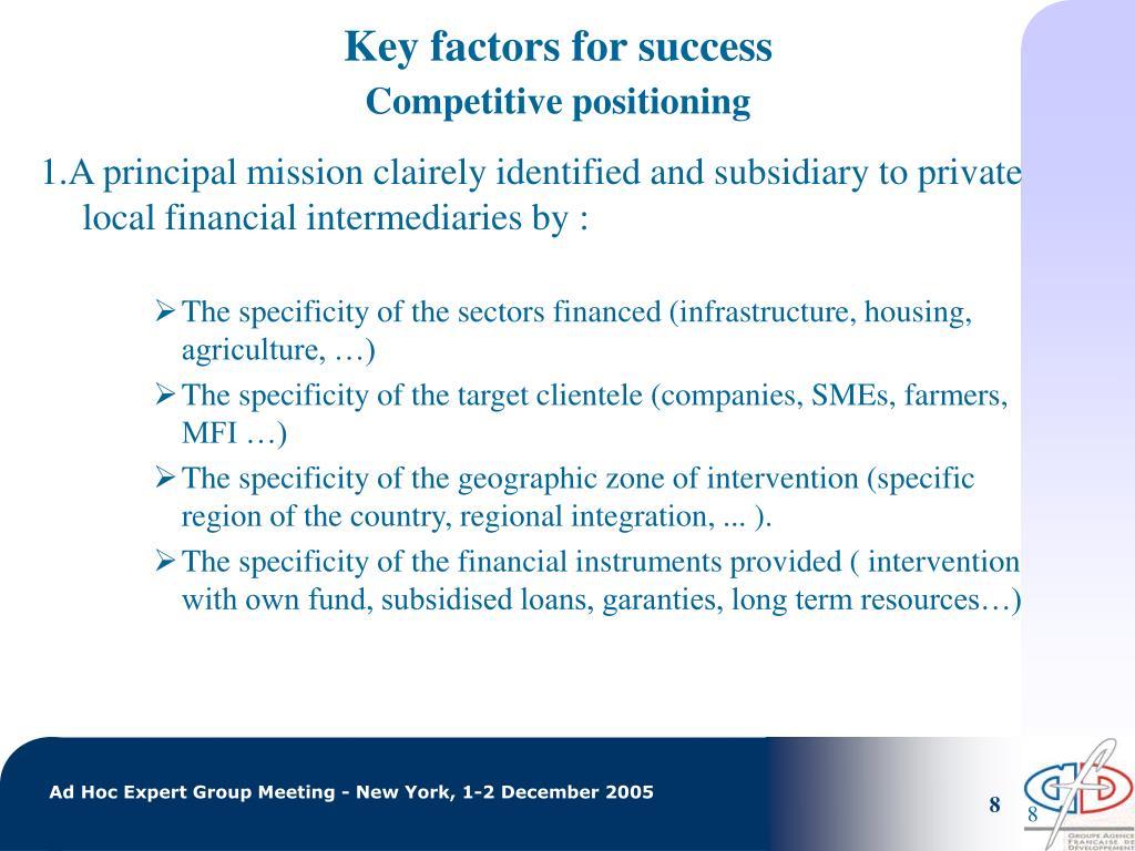 Key factors for success