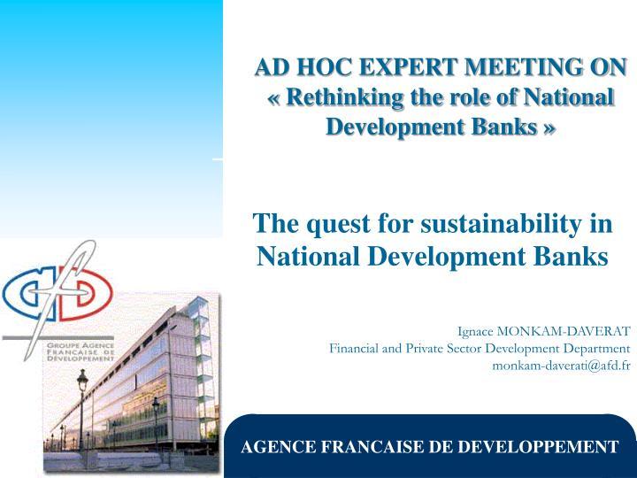The quest for sustainability in national development banks