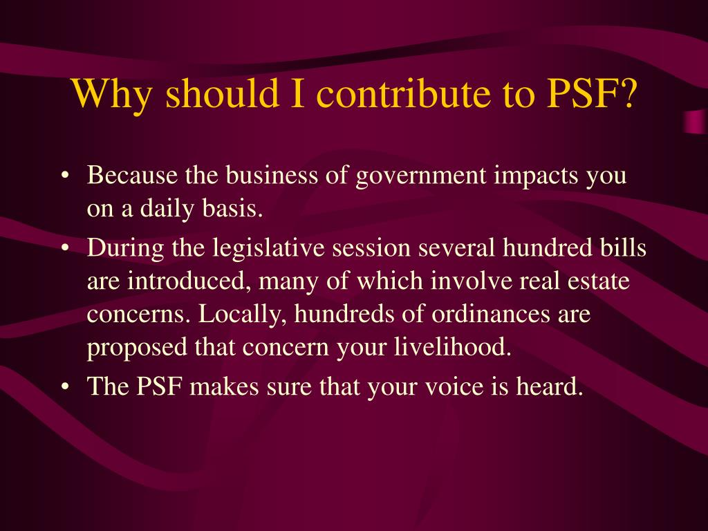 Why should I contribute to PSF?