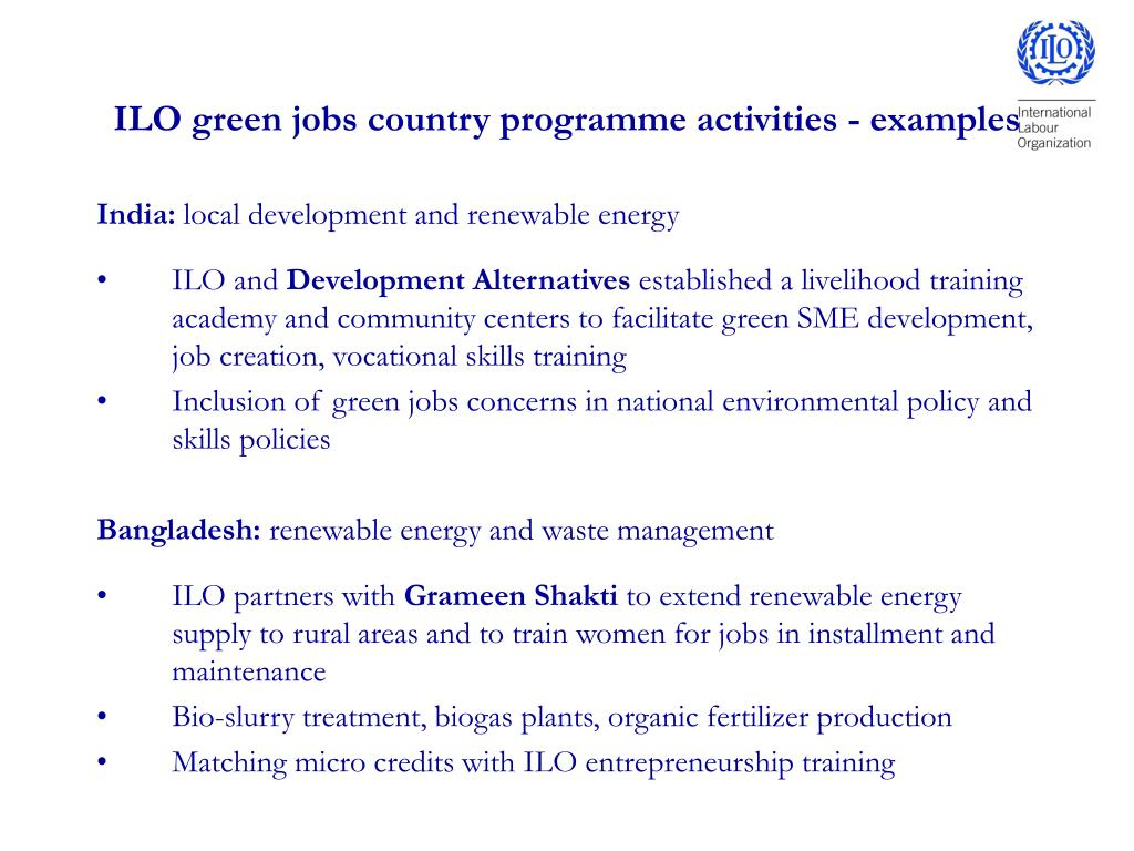 ILO green jobs country programme activities - examples