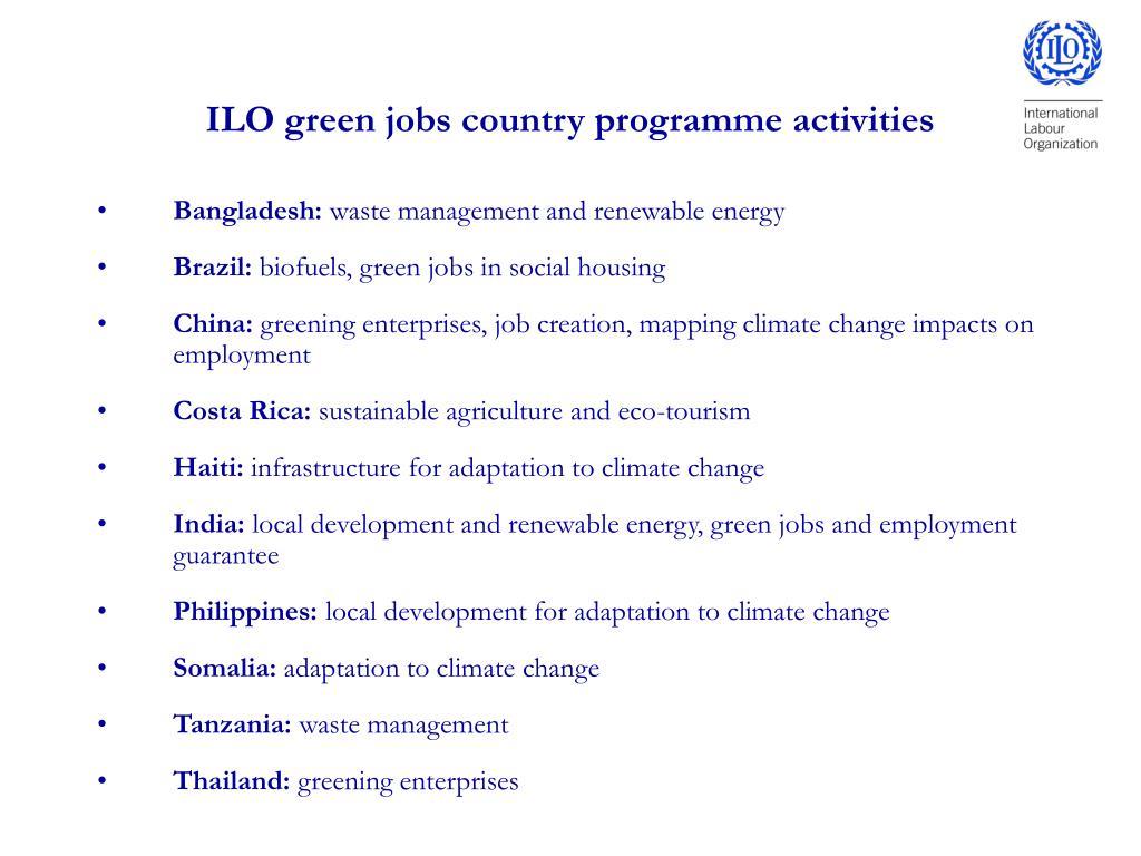 ILO green jobs country programme activities