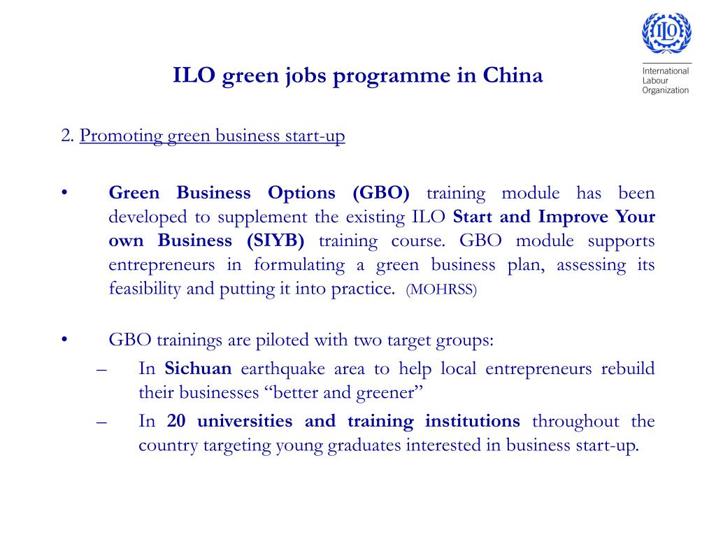 ILO green jobs programme in China