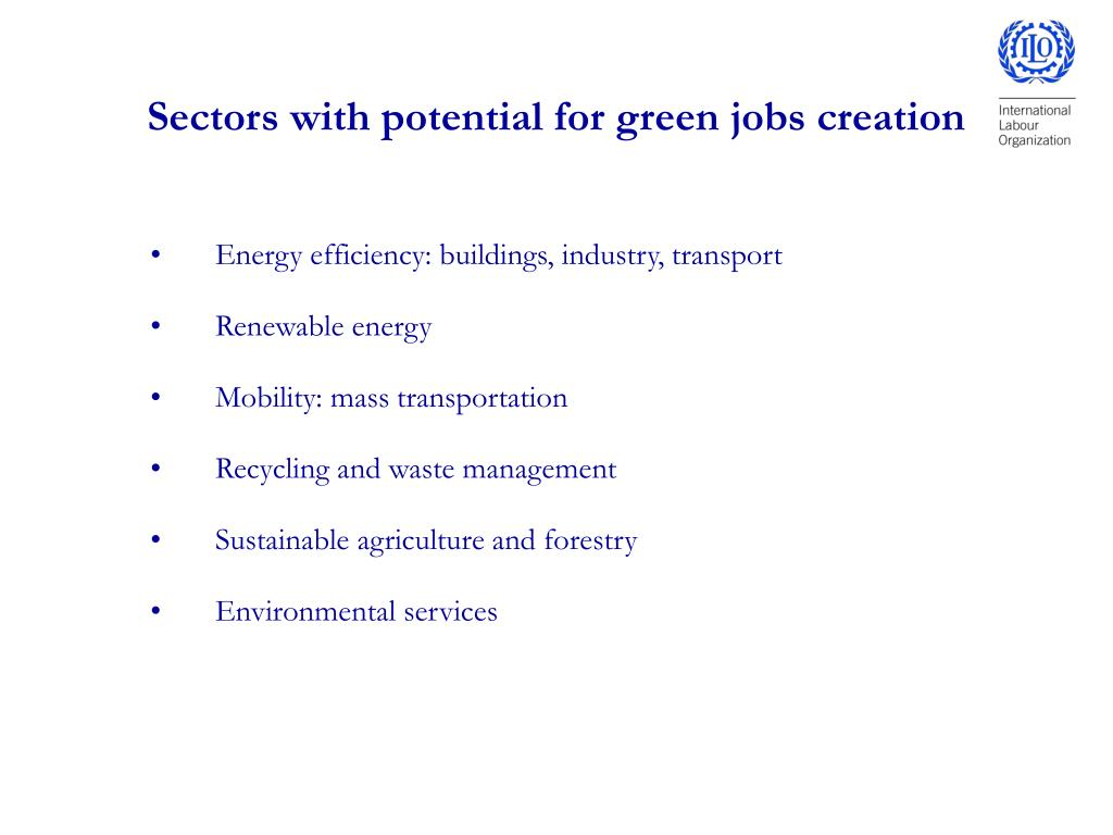 Sectors with potential for green jobs creation