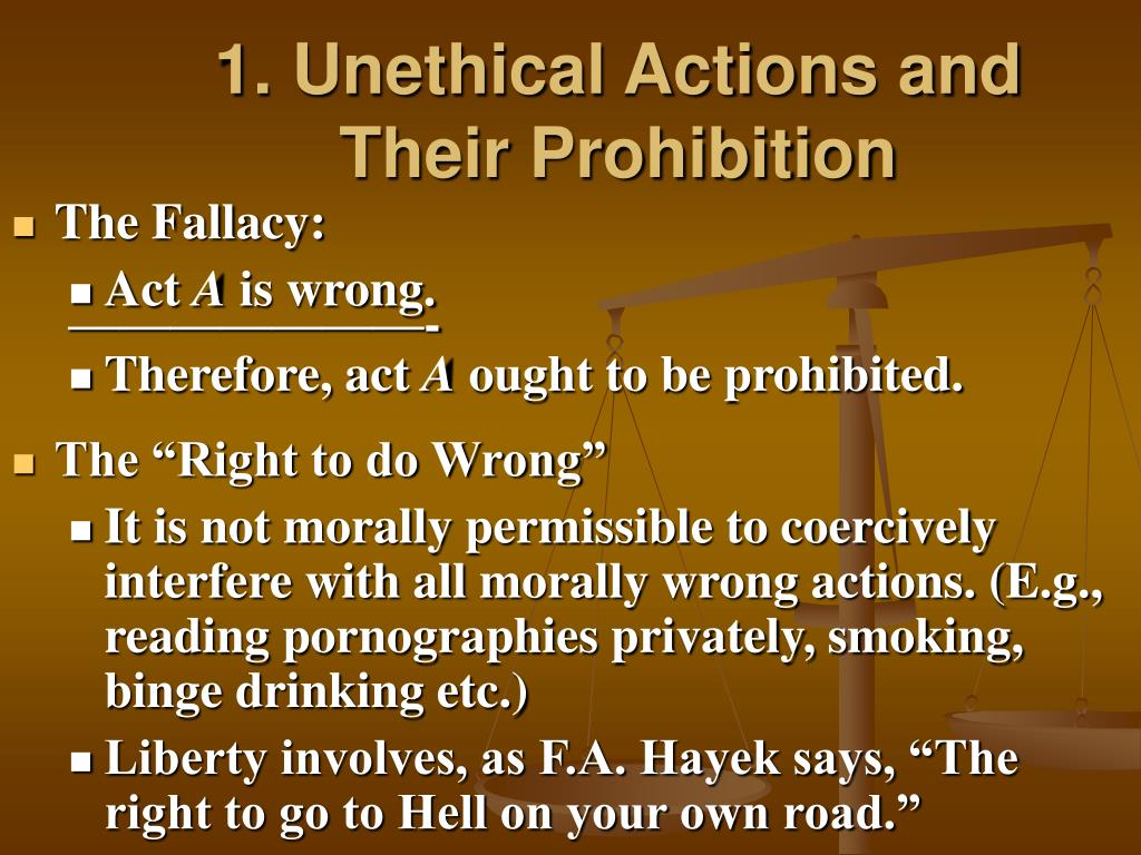 1. Unethical Actions and Their Prohibition