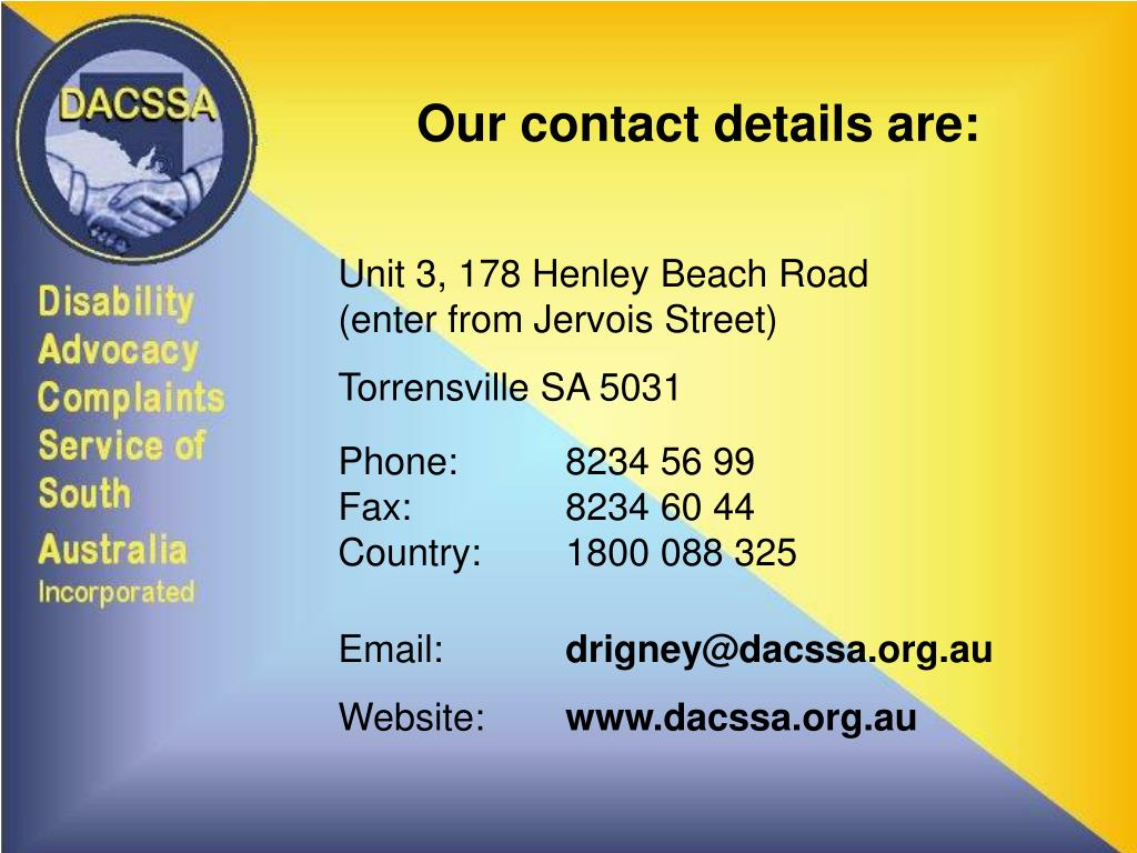 Our contact details are: