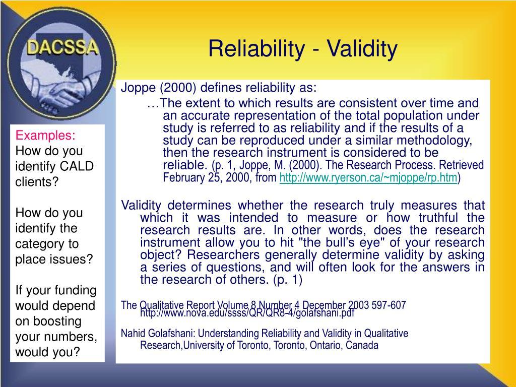 Reliability - Validity