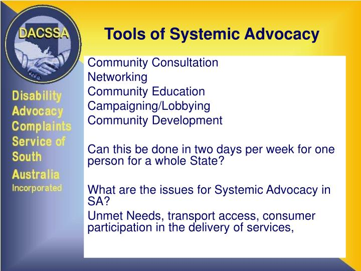 Tools of systemic advocacy