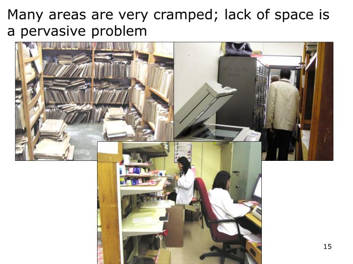 Many areas are very cramped; lack of space is a pervasive problem