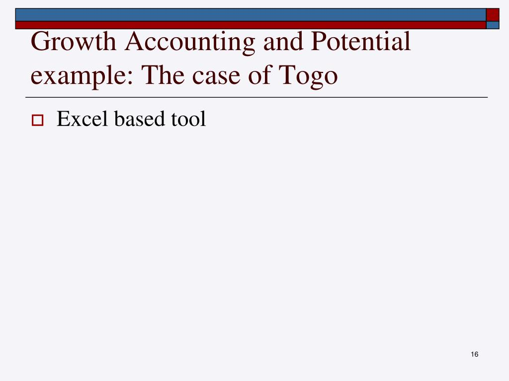 Growth Accounting and Potential example: The case of Togo