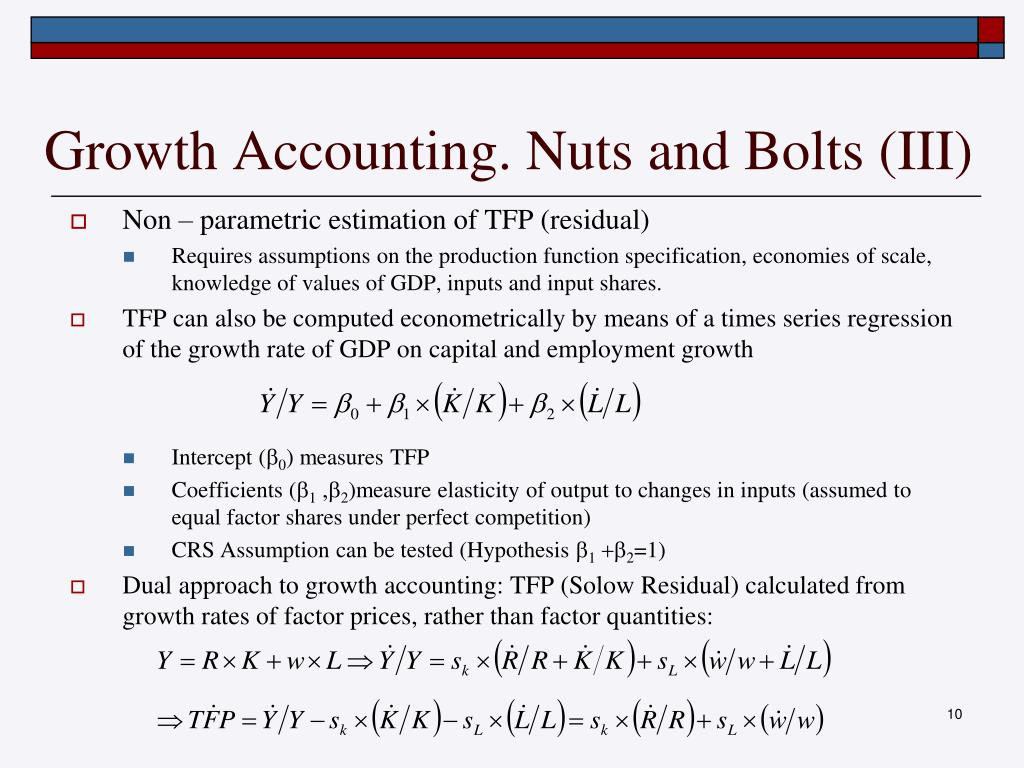 Growth Accounting. Nuts and Bolts (III)