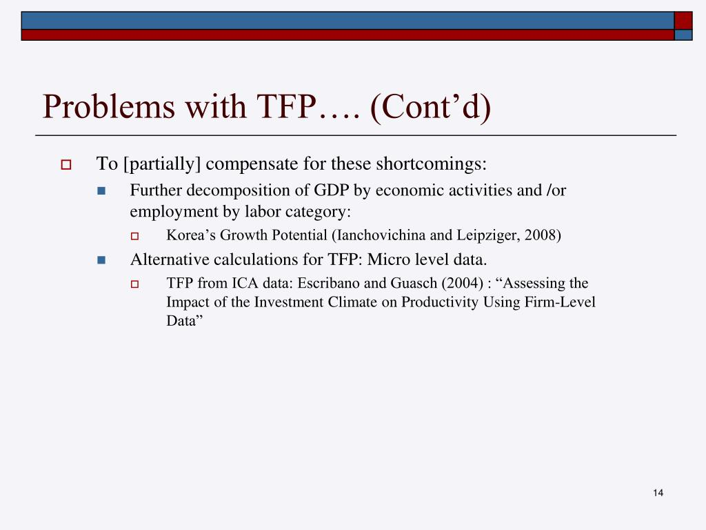 Problems with TFP…. (Cont'd)