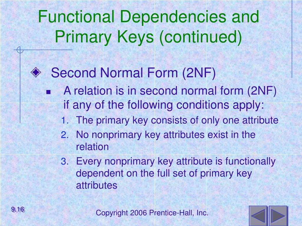 Functional Dependencies and Primary Keys (continued)