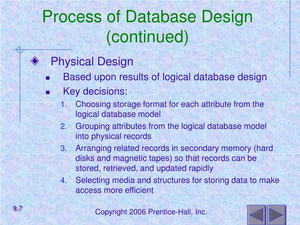 Process of Database Design (continued)