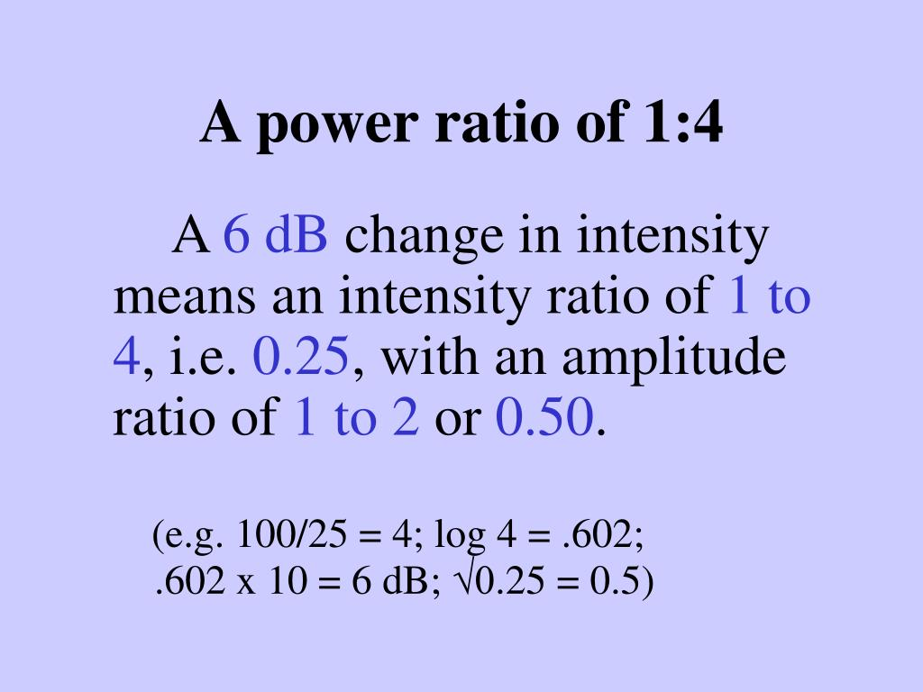 A power ratio of 1:4