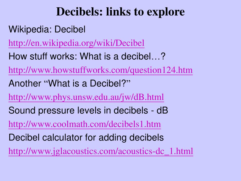 Decibels: links to explore