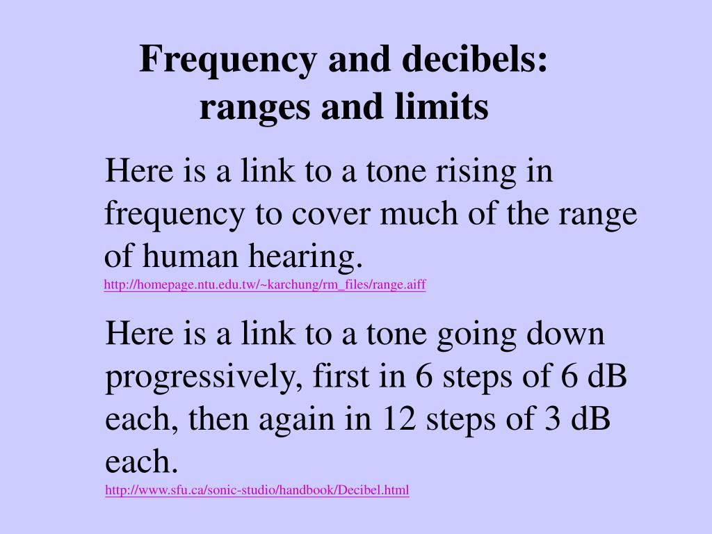 Frequency and decibels: