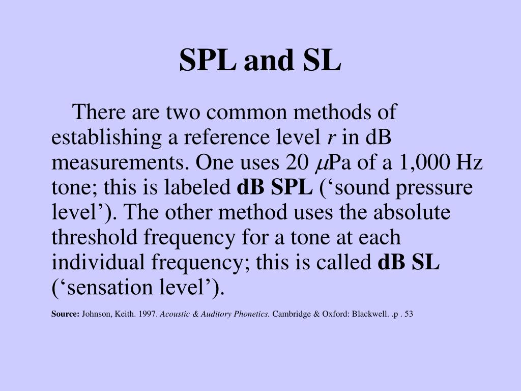 SPL and SL