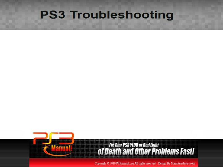 Ps3 troubleshooting