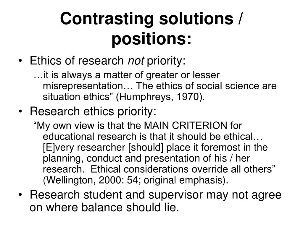 Contrasting solutions / positions: