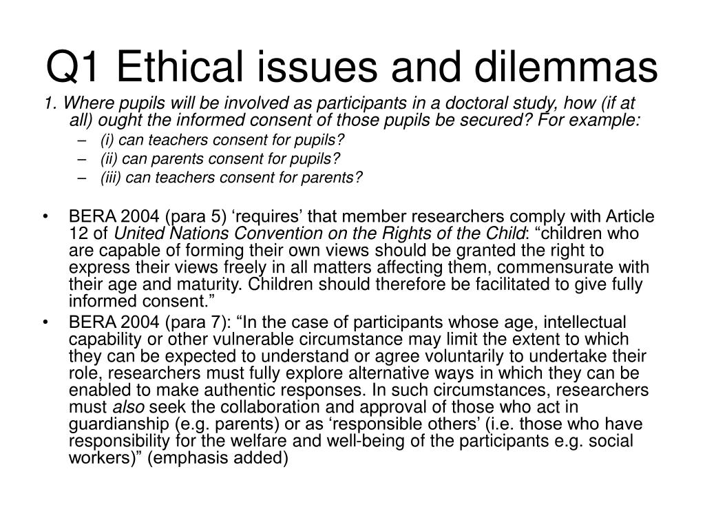 Q1 Ethical issues and dilemmas