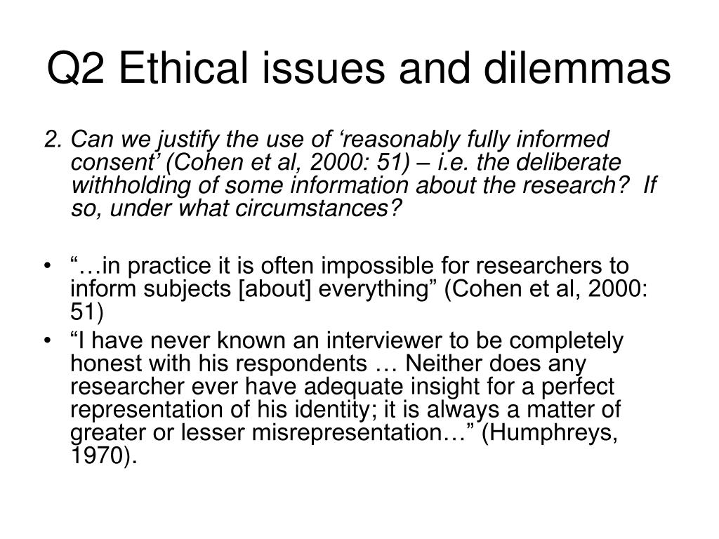 Q2 Ethical issues and dilemmas