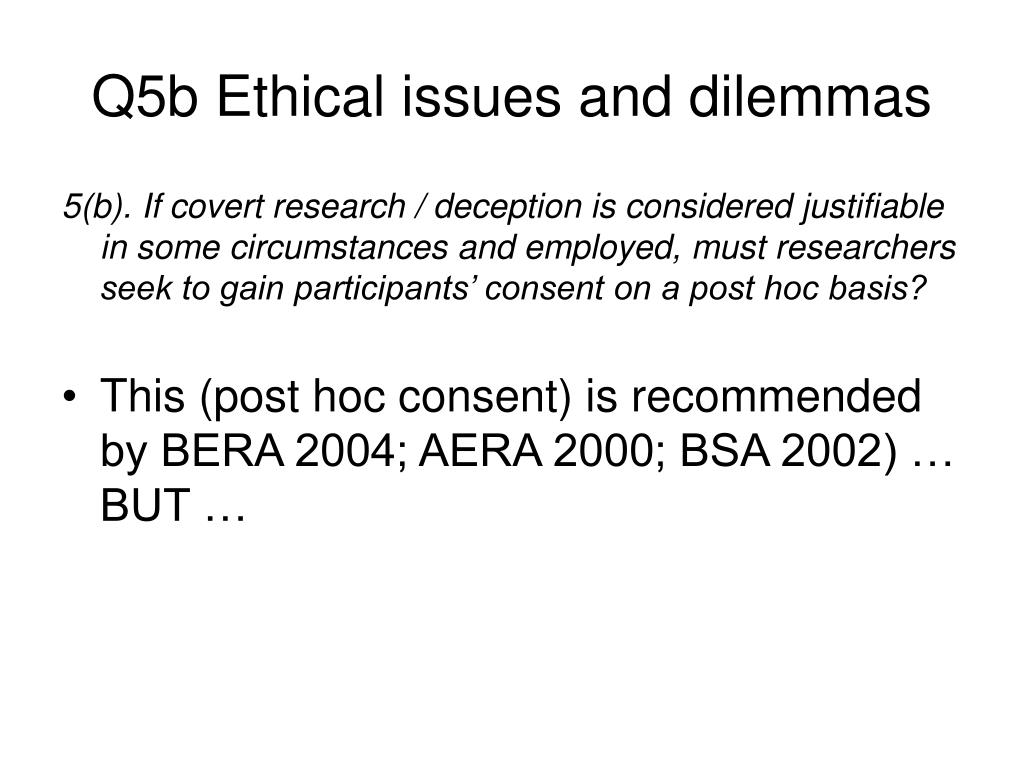 Q5b Ethical issues and dilemmas