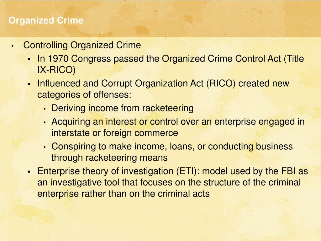 rico act of 1970 The racketeer influenced and corrupt organizations act, commonly referred to as the rico act or simply rico, is a united states federal law that provides for extended criminal penalties and a civil cause of action for acts performed as part of an ongoing criminal organization.