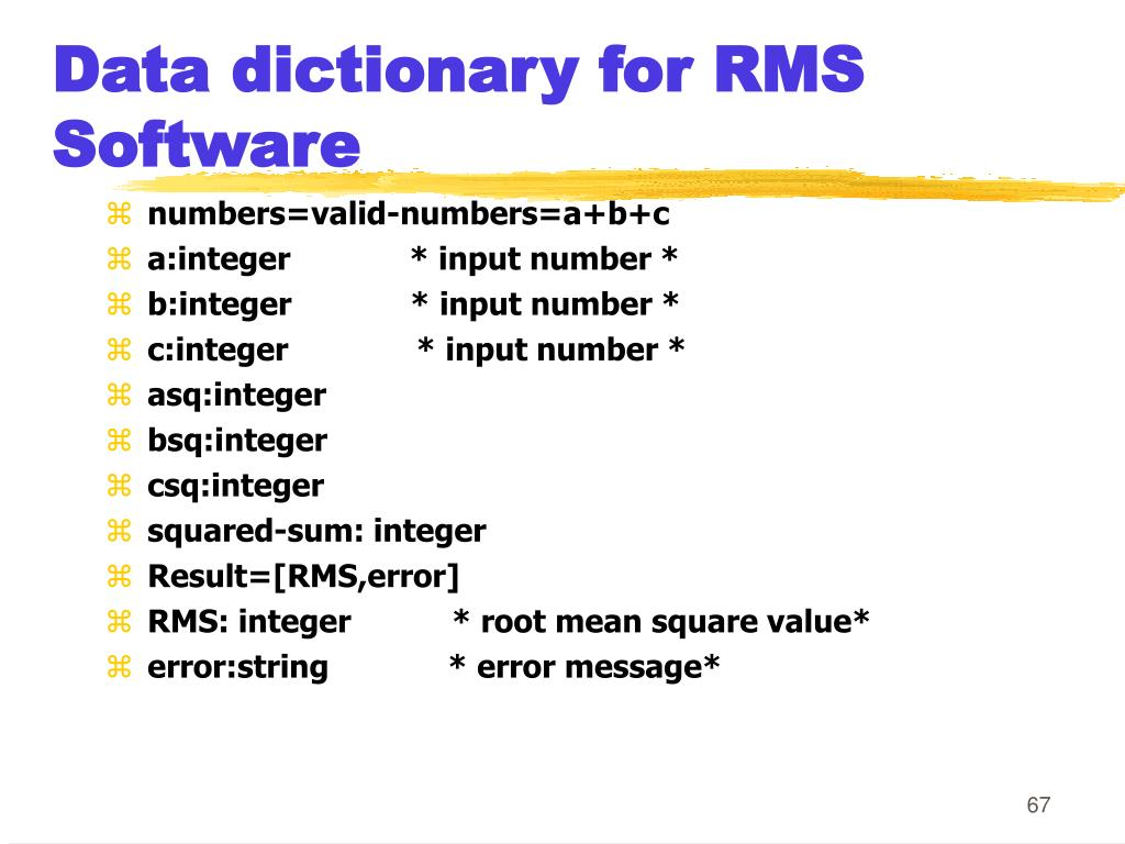 Data dictionary for RMS Software