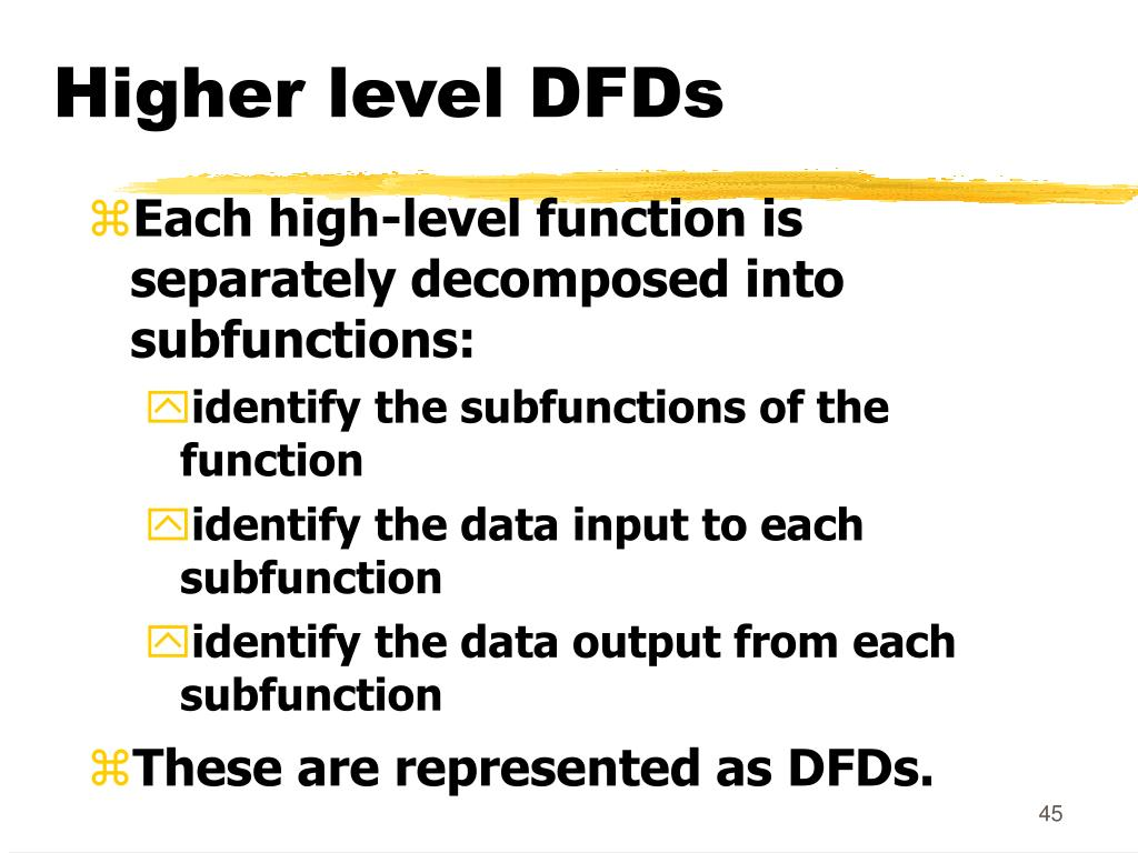 Higher level DFDs
