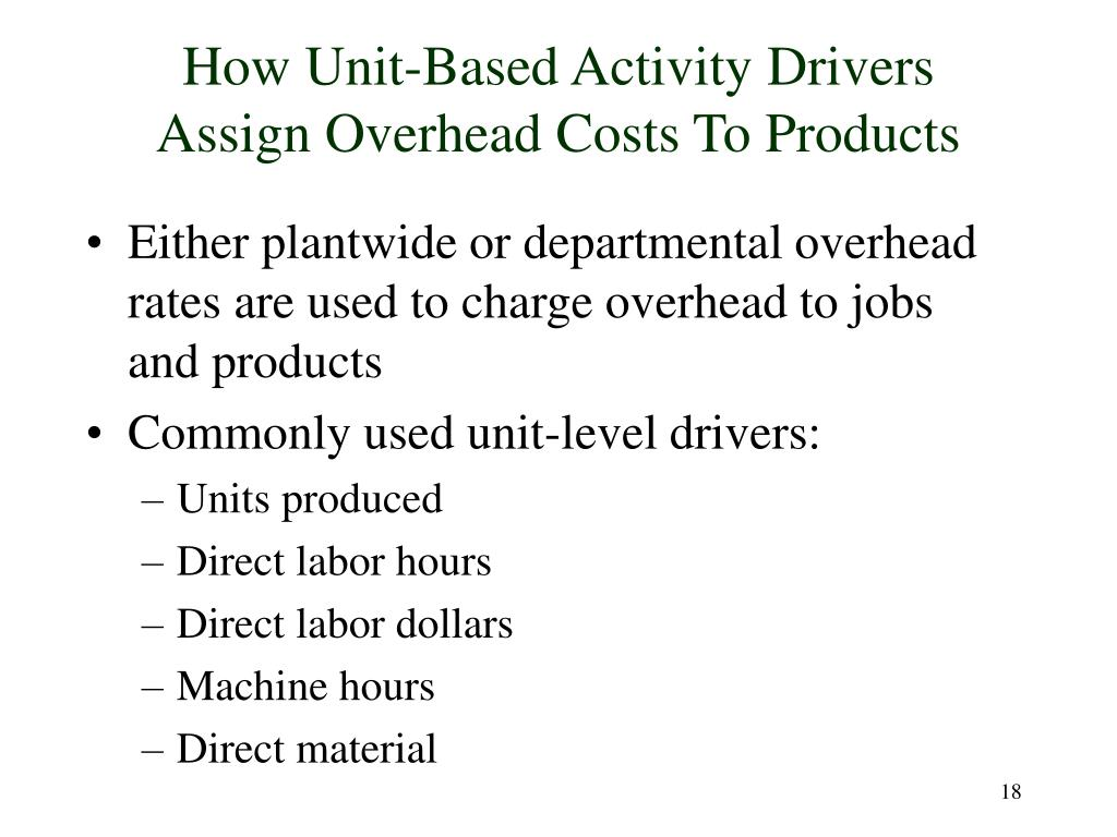 How Unit-Based Activity Drivers