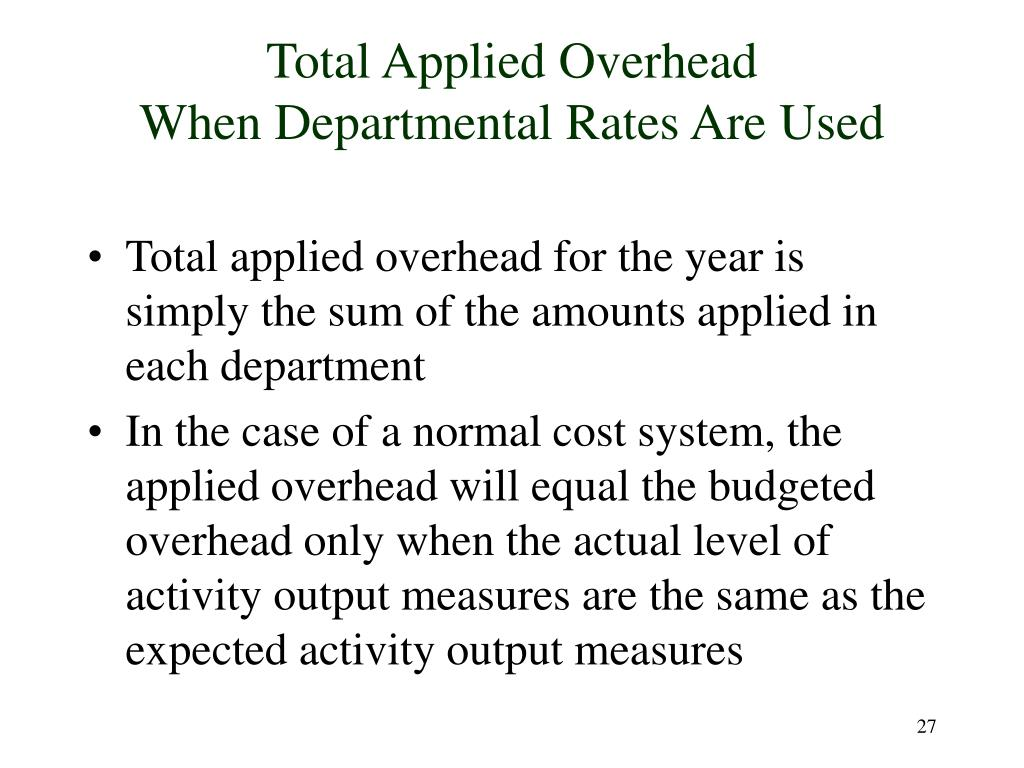 Total Applied Overhead