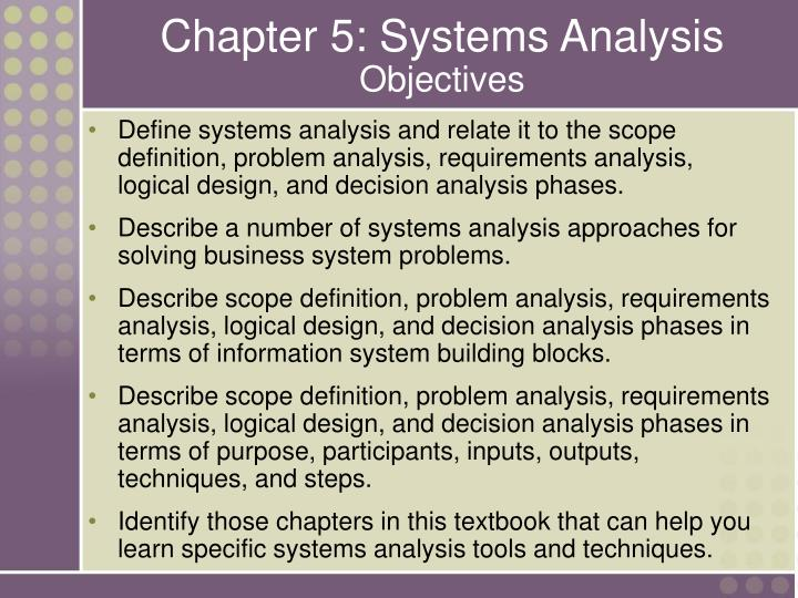 Chapter 5 systems analysis objectives