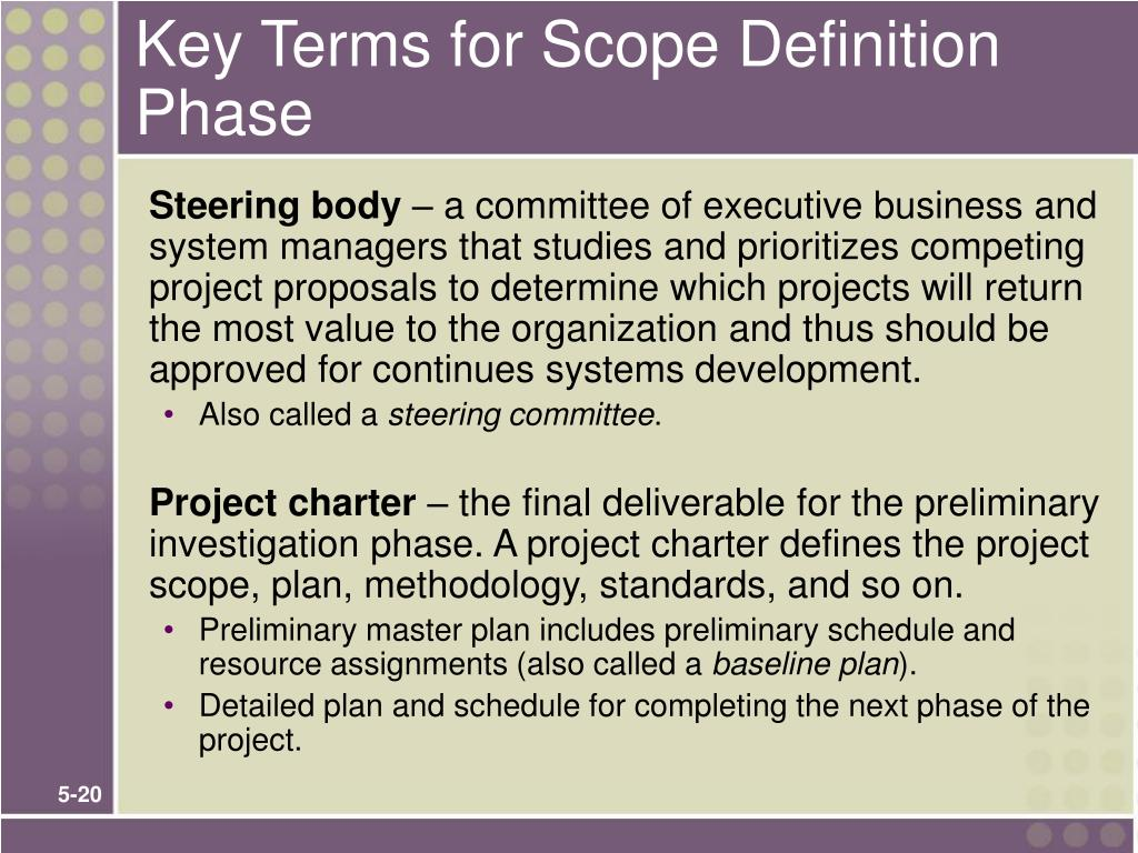 Key Terms for Scope Definition Phase