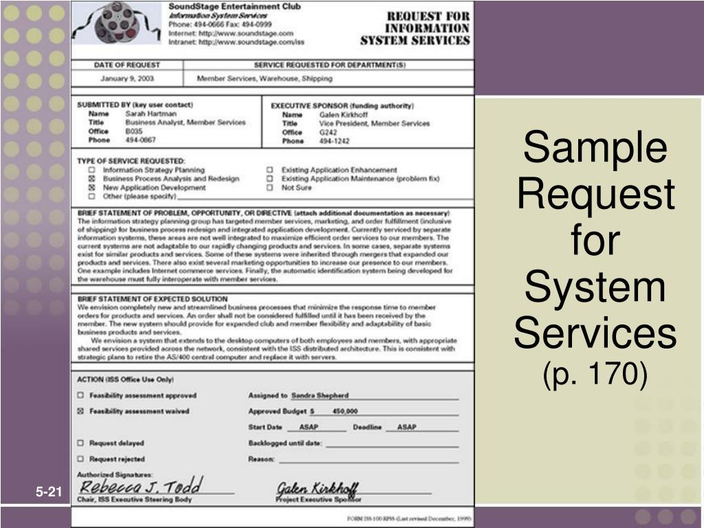 Sample Request for System Services