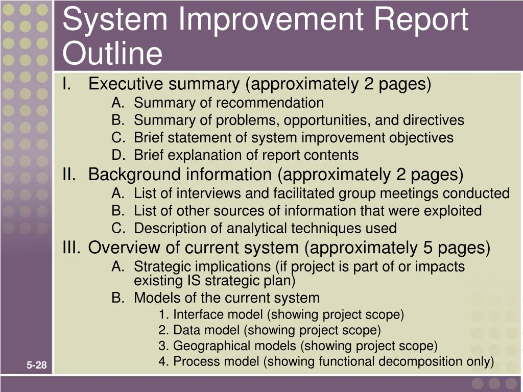 System Improvement Report Outline