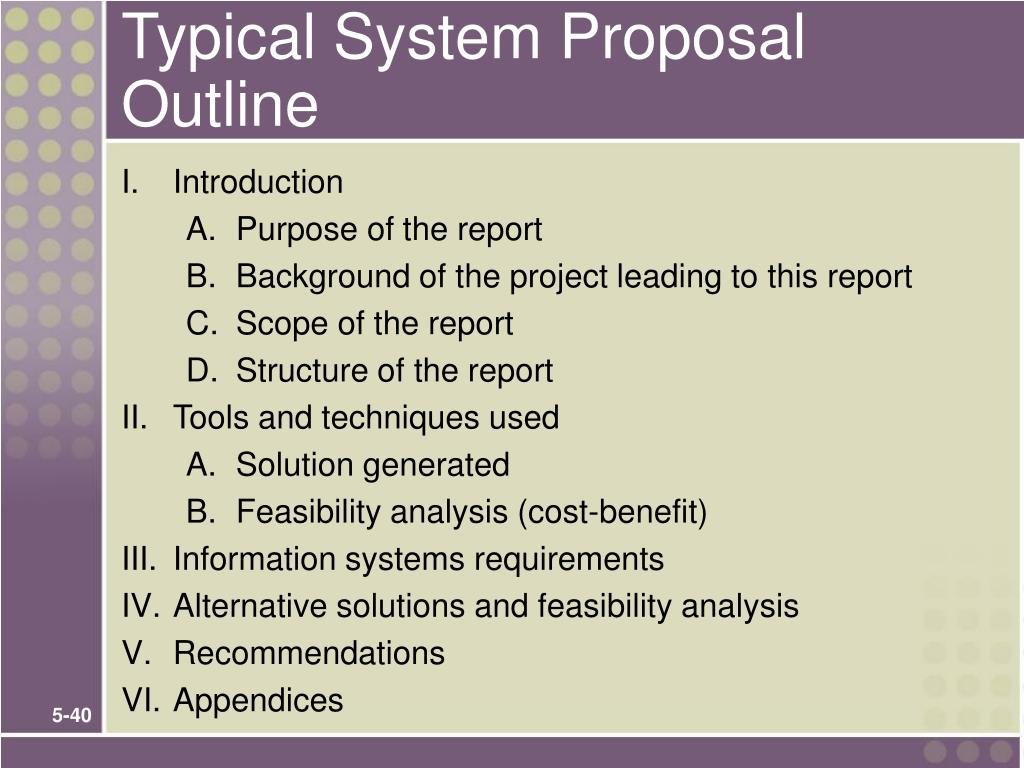 Typical System Proposal Outline