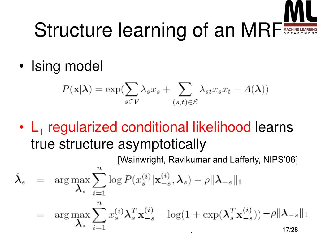 Structure learning of an MRF