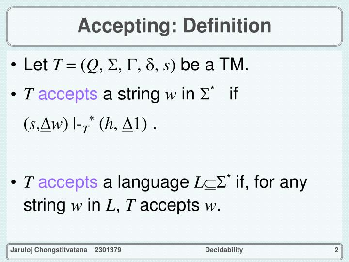 Accepting definition