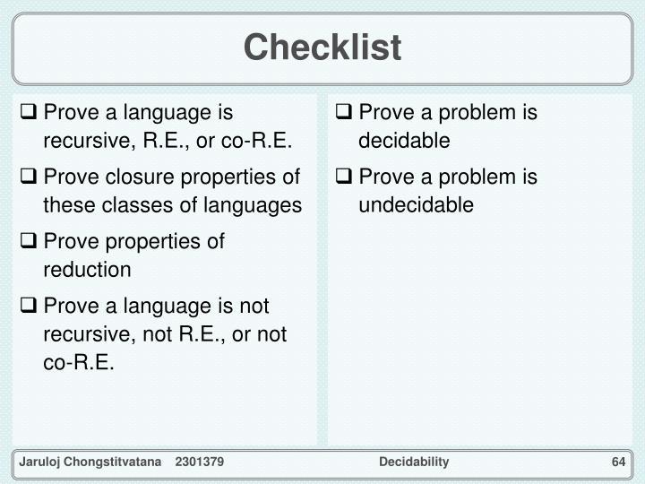 Prove a language is recursive, R.E., or co-R.E.