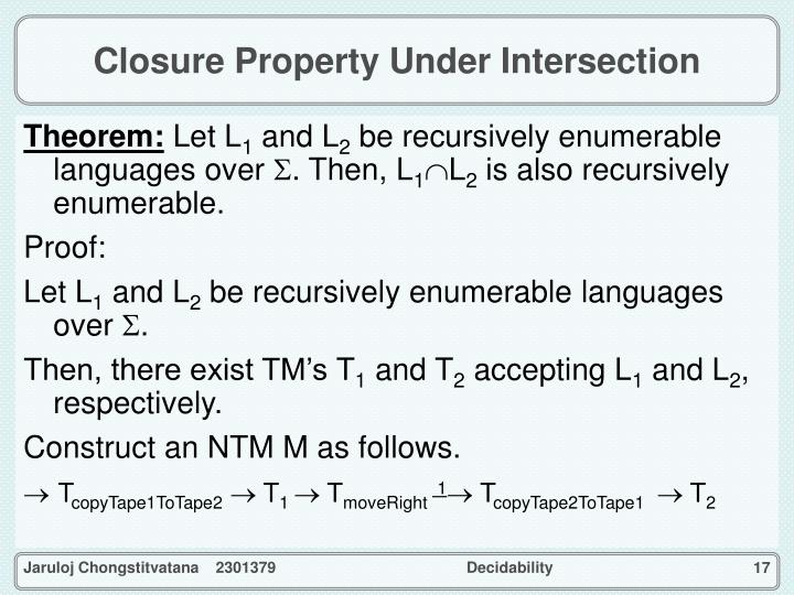 Closure Property Under Intersection