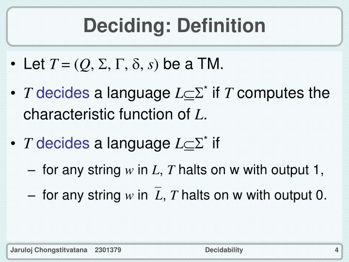 Deciding: Definition