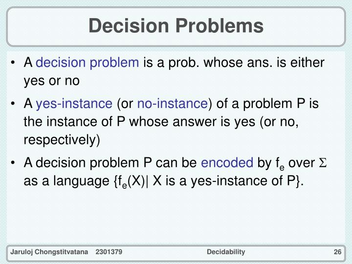 Decision Problems