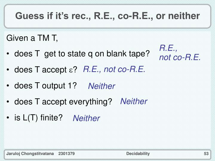 Guess if it's rec., R.E., co-R.E., or neither