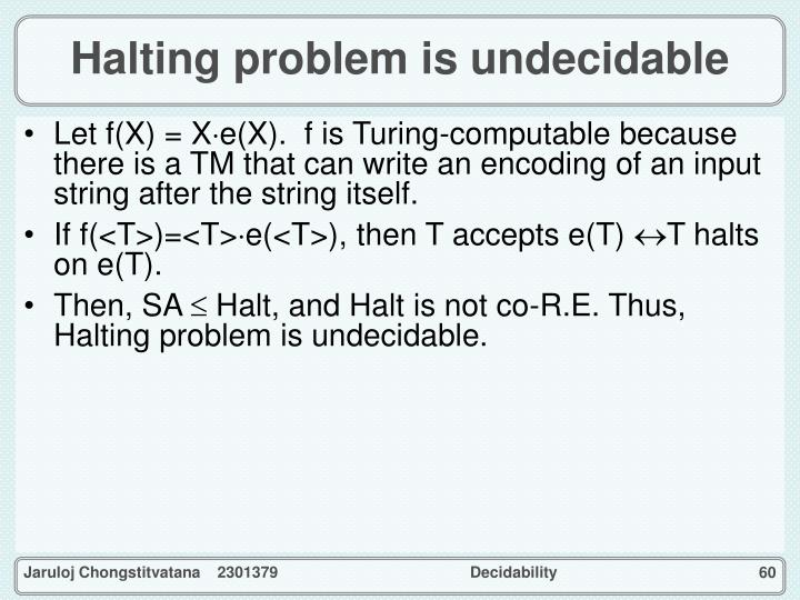 Halting problem is undecidable