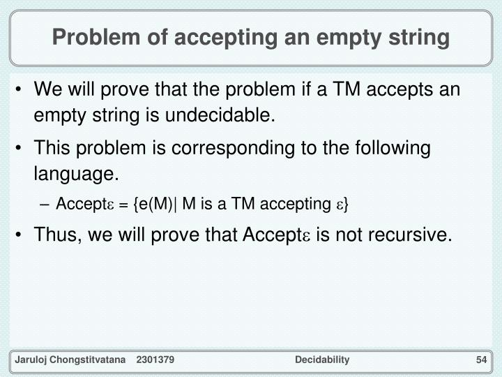 Problem of accepting an empty string