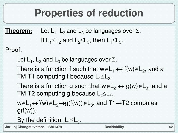 Properties of reduction
