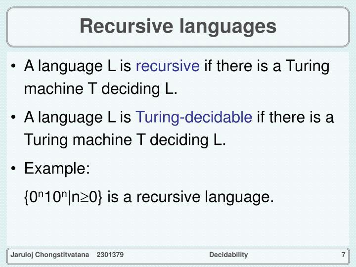 Recursive languages