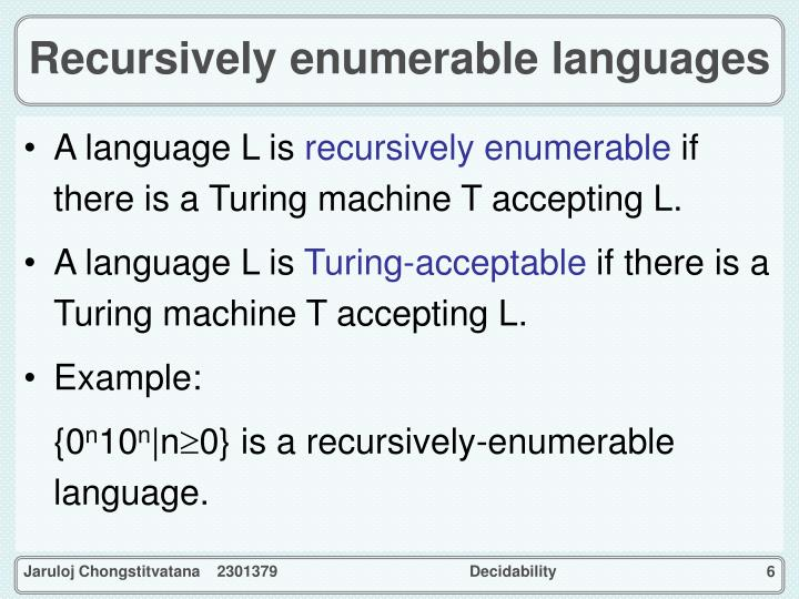 Recursively enumerable languages