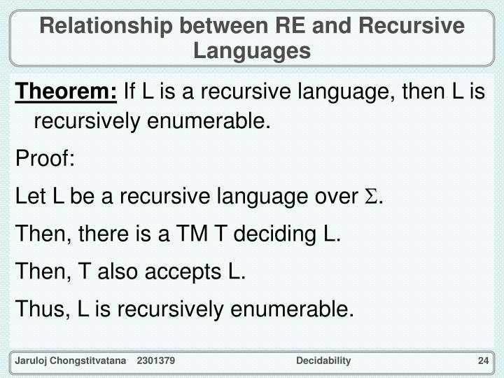 Relationship between RE and Recursive Languages