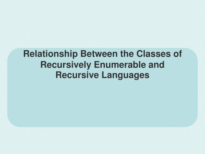 Relationship Between the Classes of Recursively Enumerable and Recursive Languages